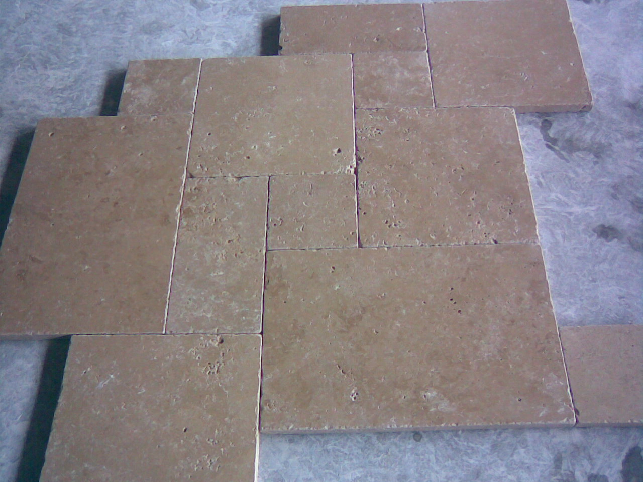 Noce French Pattern Tumbled Travertine Paver